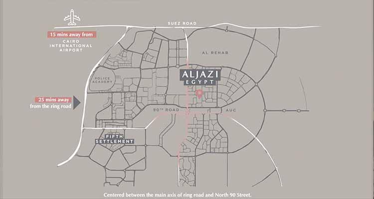 Location of AL JAZI FIRST Marriott Residences New Cairo - موقع مشروع الچازي فيرست ماريوت ريزدنس القاهرة الجديدة